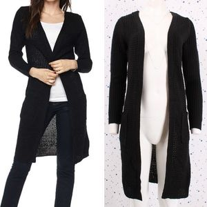 Waffle Knit Duster Long Sweater Cardigan Black